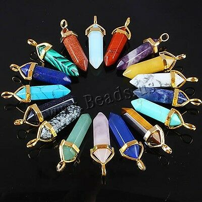 Natural Crystal Hexagonal Gemstone Healing Point Jewelry Necklace Golden Pendant