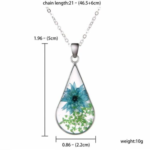 Fashion Wish Natural Real Dried Flower Resin Glass Pendant Necklace Jewelry Gift