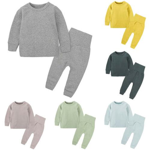 Toddler Baby Kid Girls Boys Solid T-shirt Tops Pants Pajamas Sleepwear Set 3M-8T