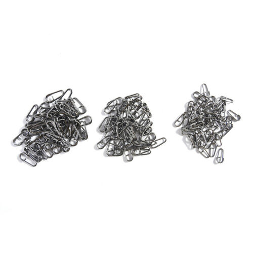 50pcs bent dead Oval Split Rings Loop Lure Assorted Swivel Snap Connector TPI