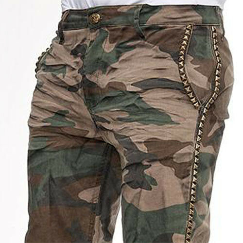 KINGZ STUDDED ARMY MENS CAMOUFLAGE JEANS DENIM ALL SIZES