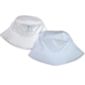 Newborn Baby Boy Summer Bucket Hat with Sail Boat White Sky Blue 0 ... 4f14a814444d