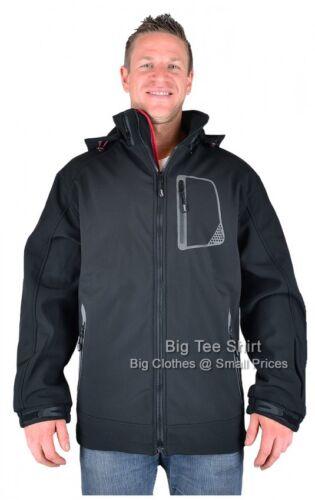 Big Mens Black Kam Macey Soft Shell Jacket Coat 2xl 3xl 4xl 5xl 6xl 7xl 8xl