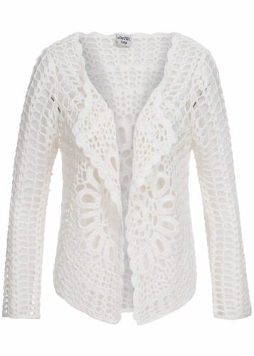 50/% off b15020846 da donna eight 2 Nine Giacca Cardigan Motivo Traforato Aperto Taglio Bianco