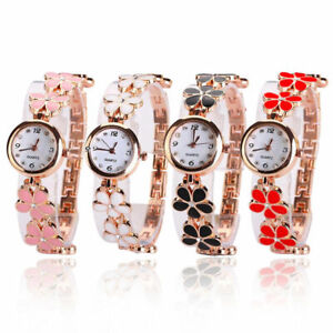 New-Fashion-Dress-Flower-Womens-Ladies-Round-Quartz-Analog-Bracelet-Wrist-Watch