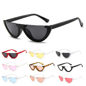 727cbcad03 Image is loading Women-Vintage-Half-Frame-Cat-Eye-Sunglasses-Retro-
