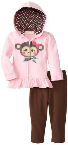 NEW Kids Headquarters 2-Pc Monkey Pink Brown Hoody Pants Set Baby Girls 24 Month