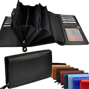 fd3dd47bdacc2 Das Bild wird geladen XXL-Geldboerse-28-Faecher-Leder-Portemonnaie- Geldbeutel-Geldtasche-