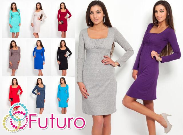 Elegant Women's Shift Dress Long Sleeve Sqare Neck Tunic Sizes 8 - 18 8441