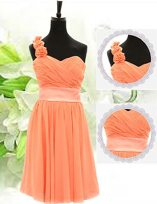 Coral Party Evening Bridesmaid Cocktail Wedding Dress