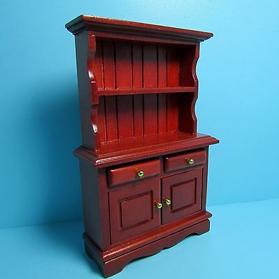 Dollhouse Miniature Wood Cabinet with Bookcase in Mahogany ...