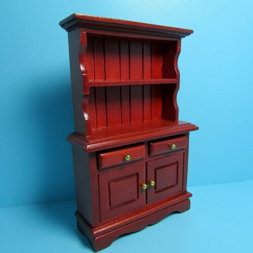 Dollhouse Miniature Wood Cabinet with Bookcase in Mahogany ~ T3577