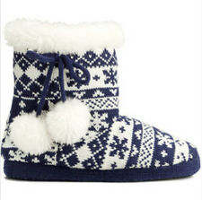 NWT H&M Women Blue and White Fair Isle Knit Slippers Shoes w/ Pompoms Size 5.5-6