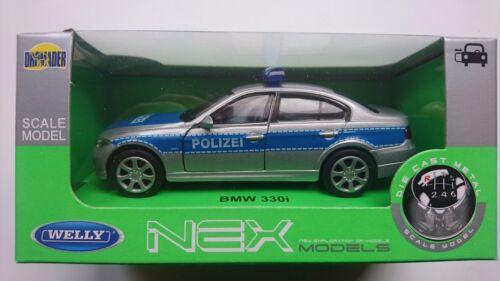 BMW 330i POLIZEI 1:34-1:39 WELLY METAL CAR NIB