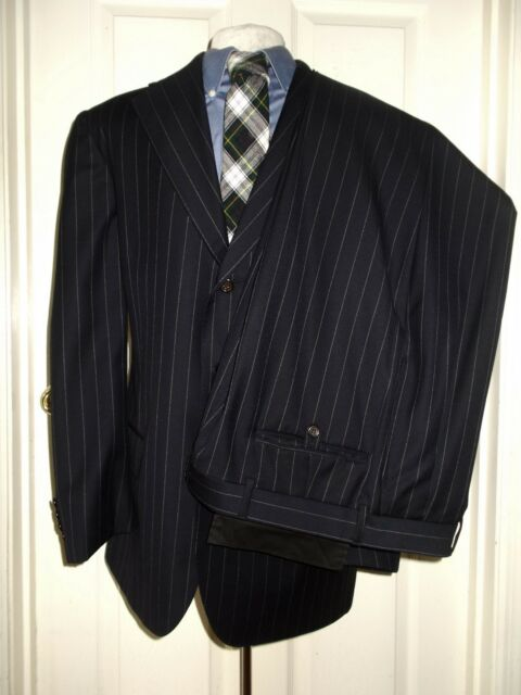 RALPH LAUREN POLO ITALY NAVY BLUE STRIPE SUIT LUXURY WOOL 40 R REGULAR 32
