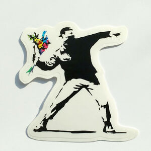 Flower Thrower Wall Decal Bansky Street Art Style Large Sticker for Home Decor