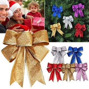 Xmas-Tree-Ornament-Christmas-Bows-Bowknot-Hanging-Home-Party-Holiday-Decoration