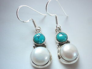 Cultured-Pearl-and-Turquoise-Double-Round-925-Sterling-Silver-Dangle-Earrings