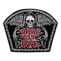 Skull Wing Bike Chain Ride Or Die Reaper Skeleton Anarchy 5 Inch Mc Biker Patch