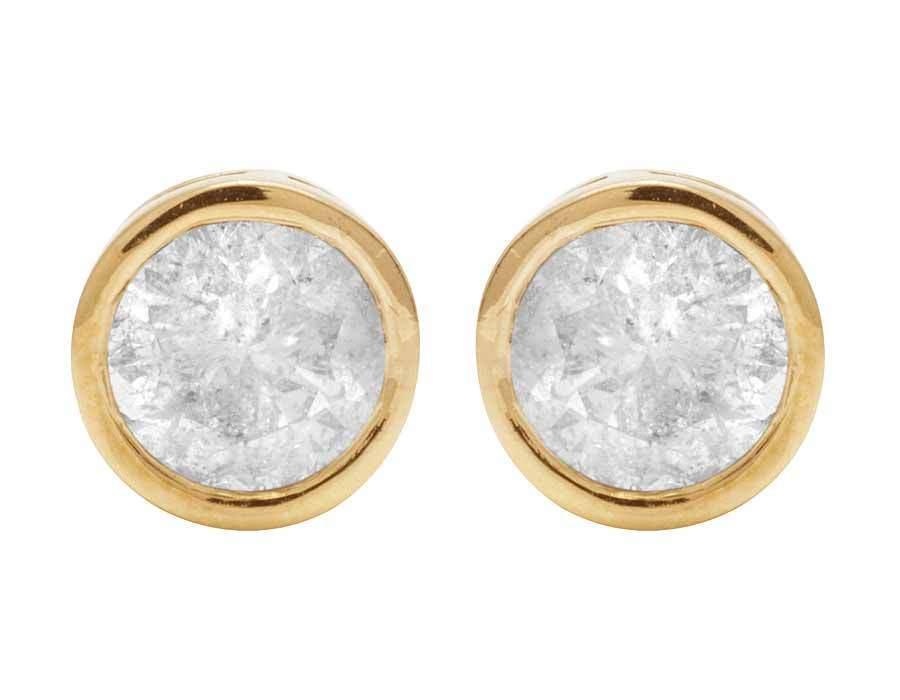 Unisex 14K Yellow gold Round Genuine Diamond Solitaire Bezel Stud Earring 0.50ct