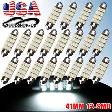 20 X 6000K White 42MM 41MM Festoon Dome Map Interior 211-2 212-2 LED Light bulbs