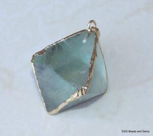 Fluorite-Quartz-Diamond-Pendant-Crystal-Bead-Point-Raw-Gold-Edge-30-40mm