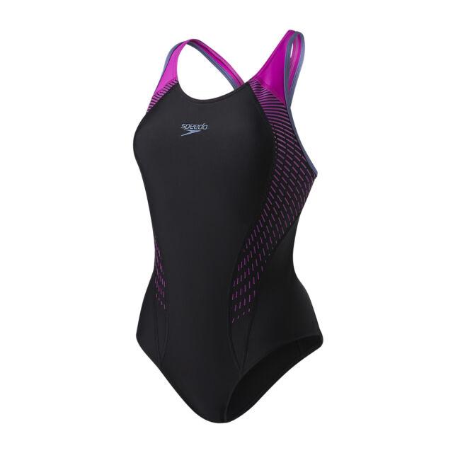 Speedo Womens Swimsuitlaneback Black Bust Support Swimming Swim