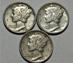 1940-PDS-Set-of-three-Mercury-Dimes-circulated-90-Silver-Extra-Fine-XF-to-AU