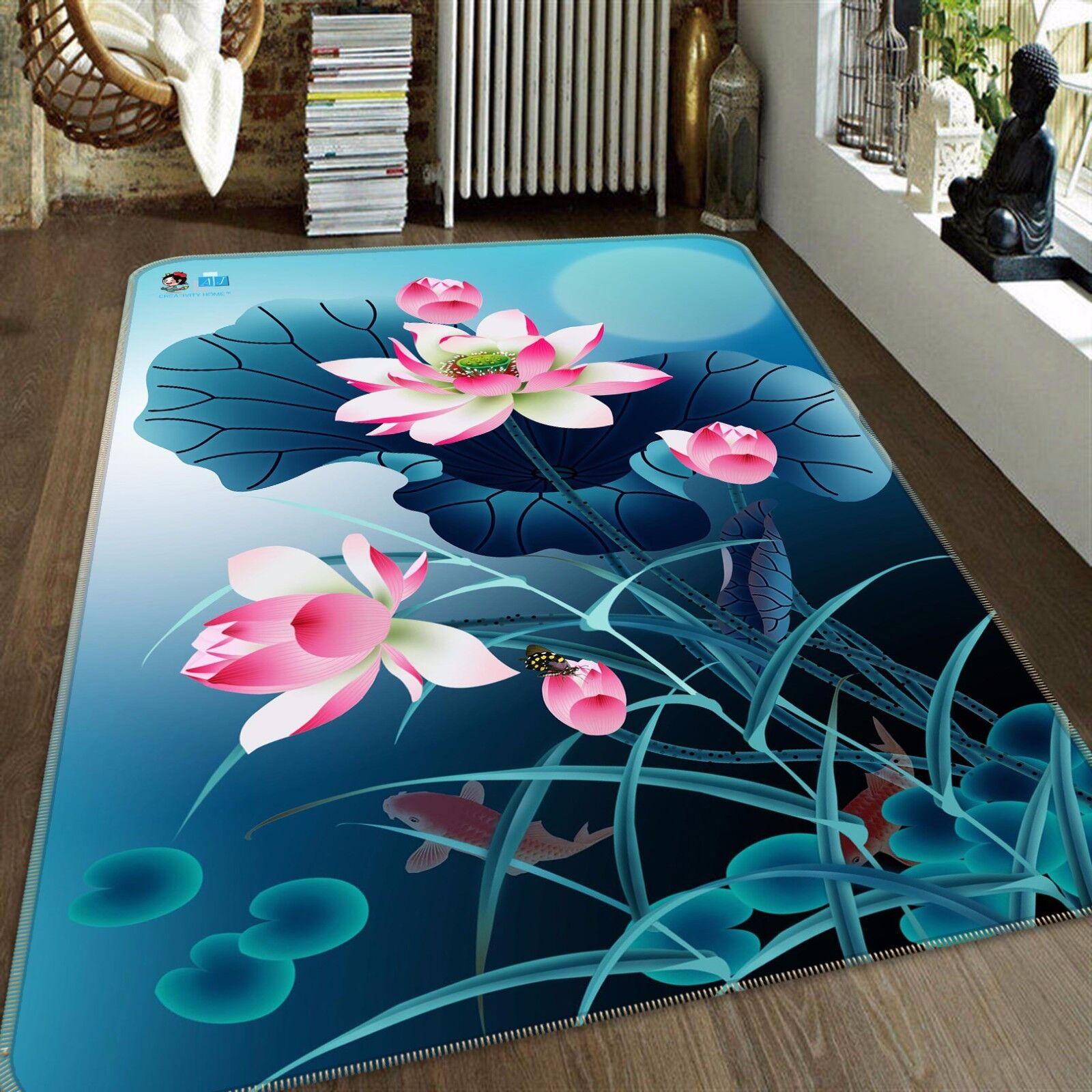 3D Lotus Bloom 467 tappetino antiscivolo tappeto camera Tappetino Qualità Elegante foto Tappeto UK