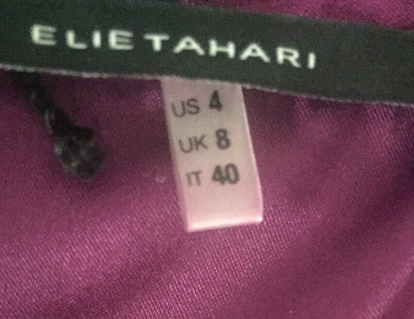 Elie Elie Elie Tahari NEW Purple Women's Size 4 Ruffle Front SILK Sheath Dress TAGS   398 9d5e80