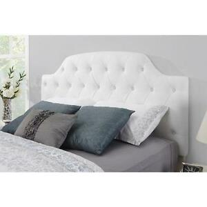 Details About Full Tufted Headboard White Faux Leather Bed On Size Arched