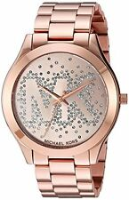 Michael Kors Women's Slim Runway Logo Rose Gold-Tone Watch MK3591