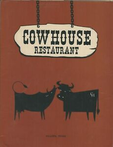 Vintage COWHOUSE Restaurant Menu, Killeen Texas 1973
