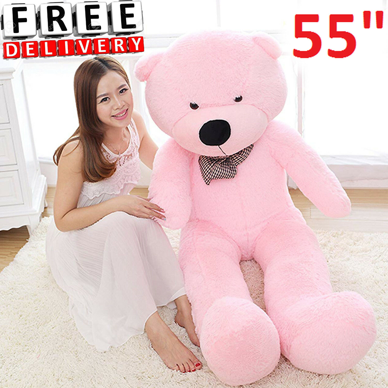 Giant Plush Teddy Bear 55  Pink Stuffed Animal Soft Toy Huge Large Jumbo Gift