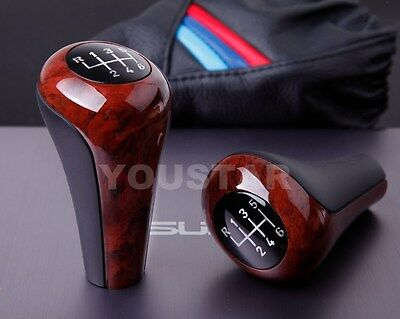US STOCK Old School BURL WOOD Look Elegant Manual Gear Knob for BMW 5 Speed
