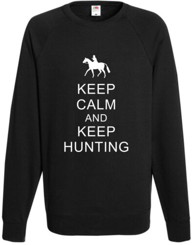 Keep Calm Keep Hunting Sweatshirt Xmas Present Top Horse Riding Gift Ride Jumper