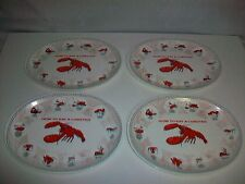 """Lot 4 Plastic HOW TO EAT LOBSTER Plates 13 1/8"""" long"""