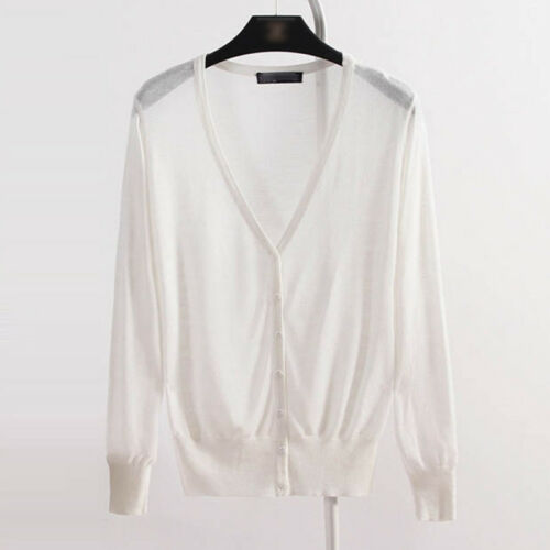 Soft Women Knitted Cardigan Button Down Sweater Coat Jacket Tops Thin Outwear
