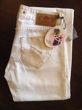 Fornarnia white womens boot cut jeans 26' 36L