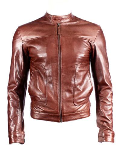 Men/'s New M-124 Brown Napa Soft Real Lambskin Lather BIKER Rock Zipper Jacket