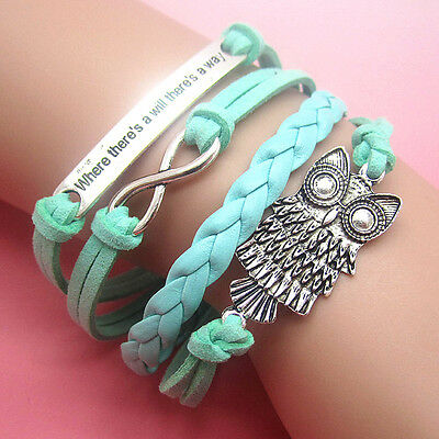 NEW Style Jewelry fashion Leather Cute Infinity Charm Bracelet Silver SL45