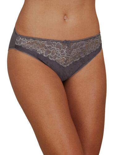 26 14 18 M/&S Dark-Grey Jacquard /& Lace Trim High Leg Knickers Sizes 8
