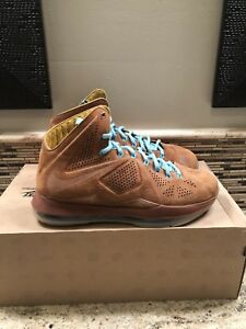 premium selection 41ef1 1fb8e Image is loading Nike-Lebron-X-10-EXT-QS-Hazelnut-Size-