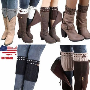ce5bd9623 Baby Girls Knee High Socks Knit Crochet Warmer Leggings Gloves Boot ...