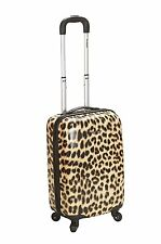 """ROCKLAND 20"""" POLYCARBONATE CARRY ON F191-LEOPARD LUGGAGE SET 20"""" X 13"""" x 10"""" NEW"""