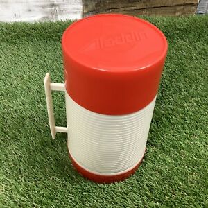 Vintage-1970s-ALADDIN-HY-LO-VACUUM-BOTTLE-Red-Cream-Pint-Thermos-Flask-USA