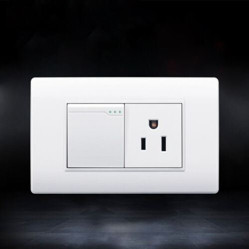 3 Hole Power Socket US Standard Wall Plate With Light Switch Push Button Outlet