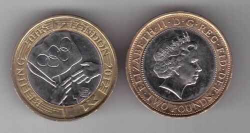 UK UNITED KINGDOM BIMETAL 2 POUNDS UNC COIN 2008 YEAR OLYMPIC HANDOVER