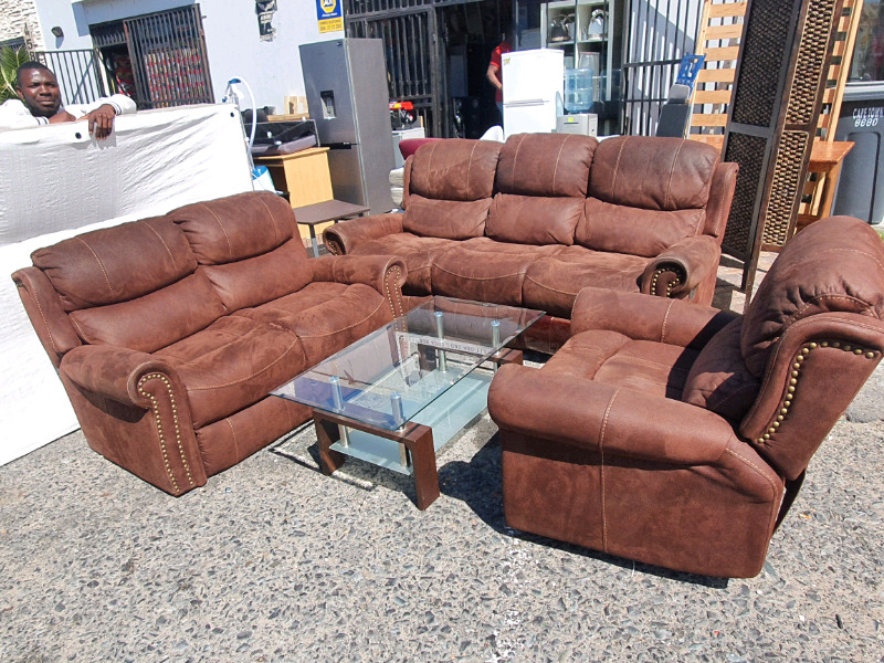 Grafton everest Suade leather recliner lounge suite on sale