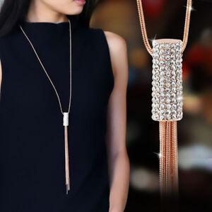 Women-Full-Cubic-Zircon-Cylinder-Pendant-Long-Chain-Tassel-Sweater-Necklace-New